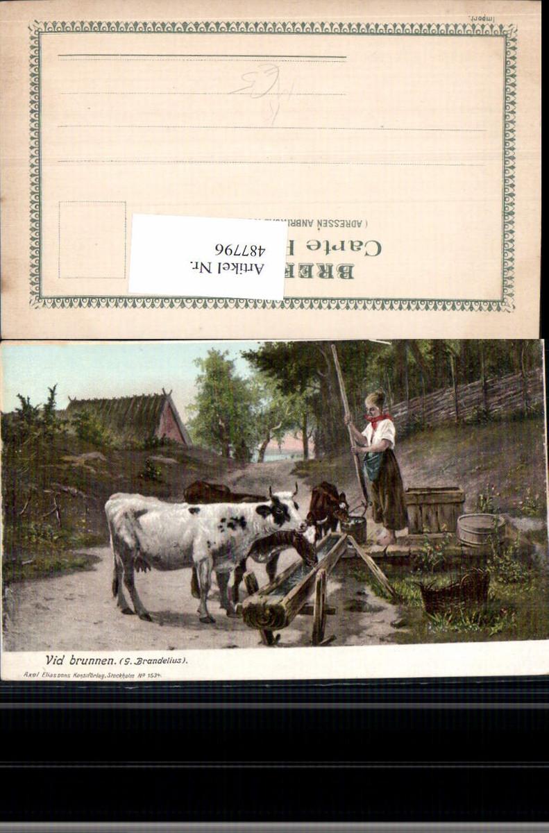 487796,Künstler Ak G. Brandelius Vid brunnen Frau als Hirtin Kühe Rinder Brunnen günstig online kaufen