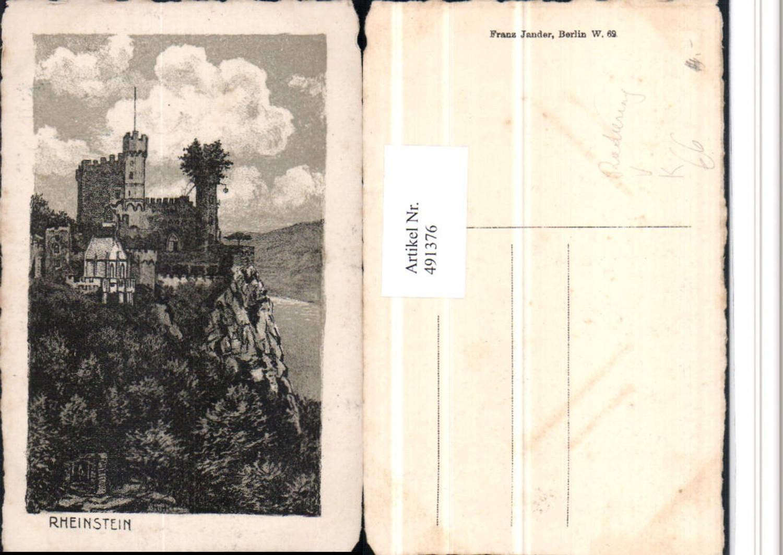 491376,Künstler AK Radierung Burg Rheinstein b. Trechtingshausen pub Jander günstig online kaufen