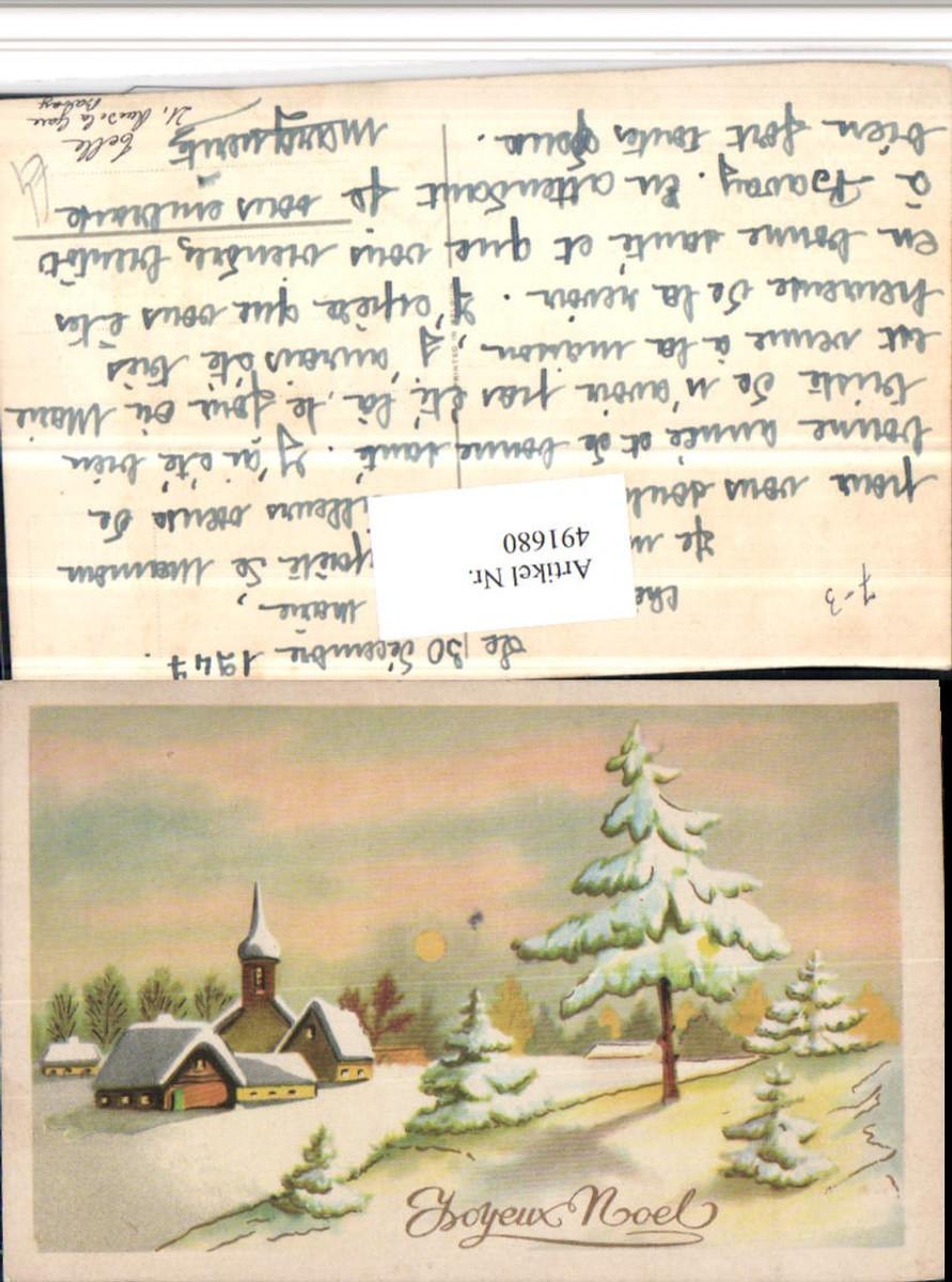 491680,Künstler AK Joyeux Noel Weihnachten Winterlandschaft Dorf günstig online kaufen