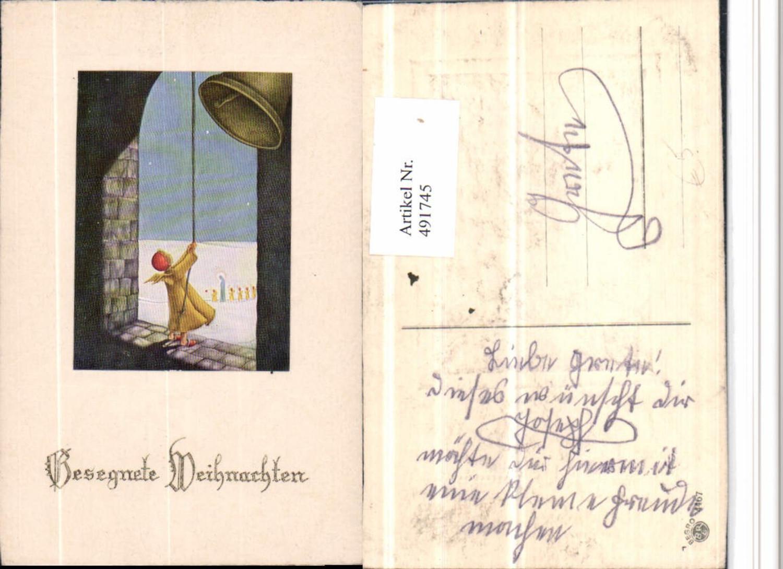 491745,Präge Künstler AK Weihnachten Glocke Engel günstig online kaufen
