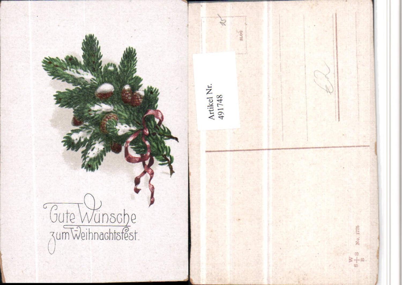 491748,Künstler AK Weihnachten Baumzweig Zapfen günstig online kaufen