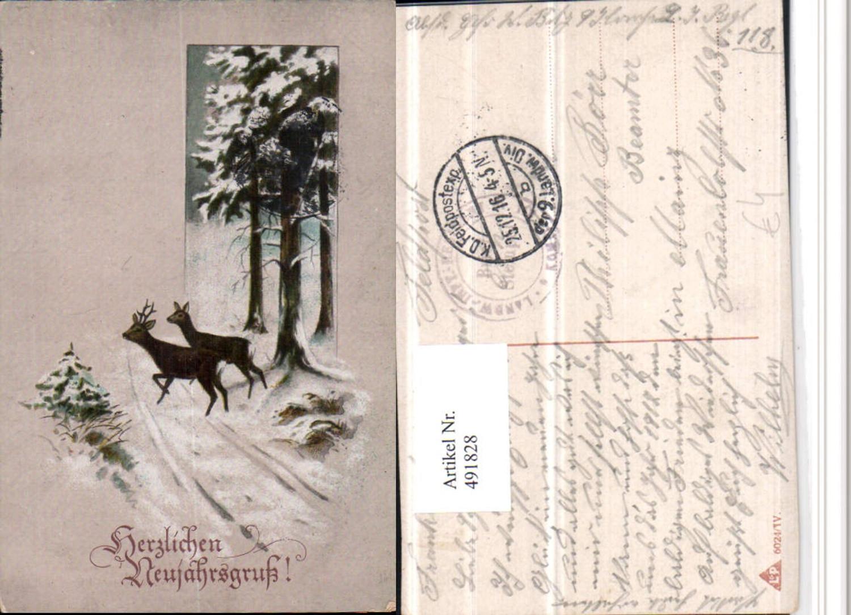 491828,Künstler AK Neujahr Winterlandschaft Wild Rehe günstig online kaufen