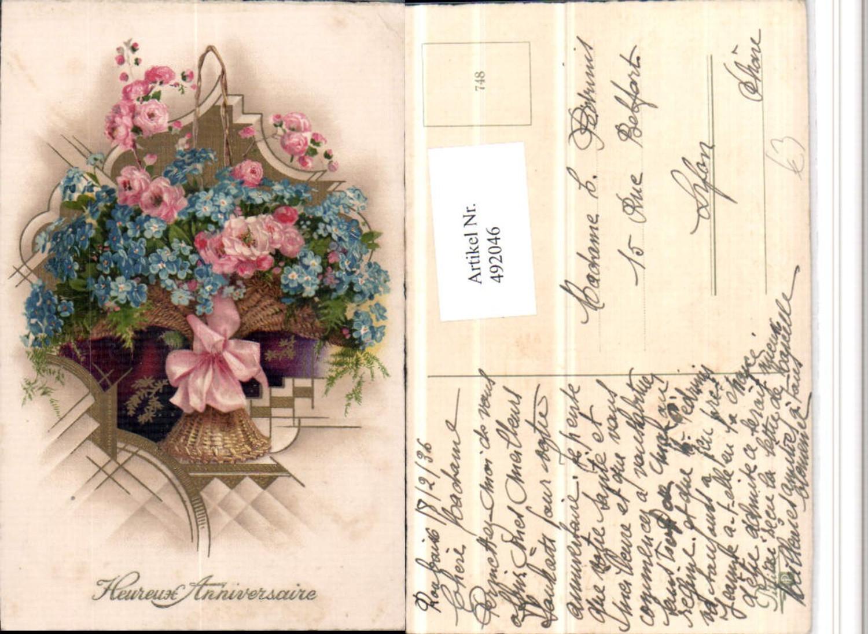 492046,Künstler AK Heureux Anniversaire Blumen Korb Schleife günstig online kaufen