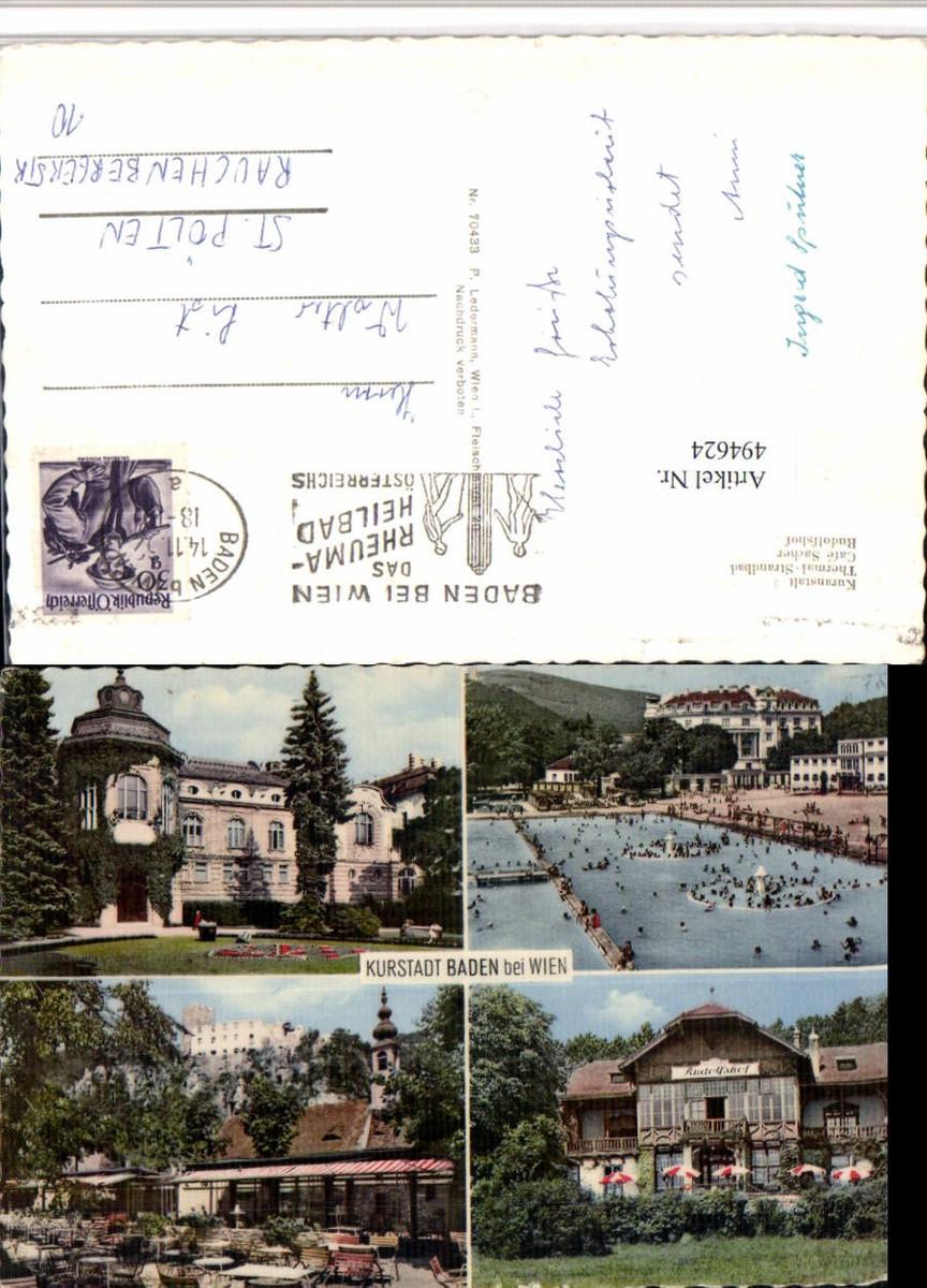 494624,Baden b. Wien Kurhaus Strandbad Rudolfshof Mehrbildkarte günstig online kaufen