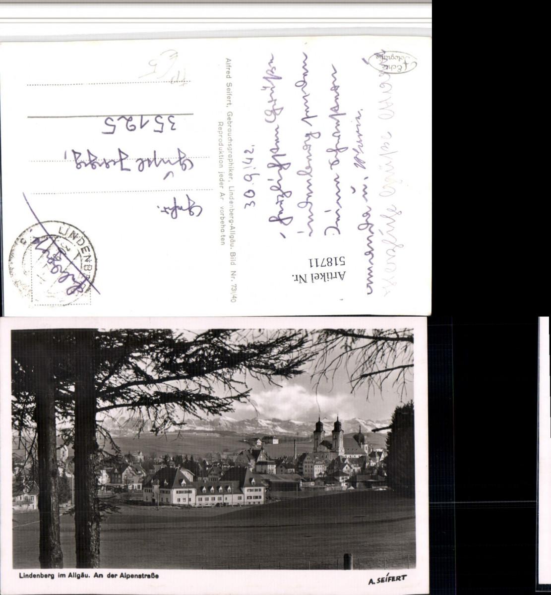 518711,Lindenberg im Allgäu Totale Bergkulisse Feldpost Nr. 35125 günstig online kaufen