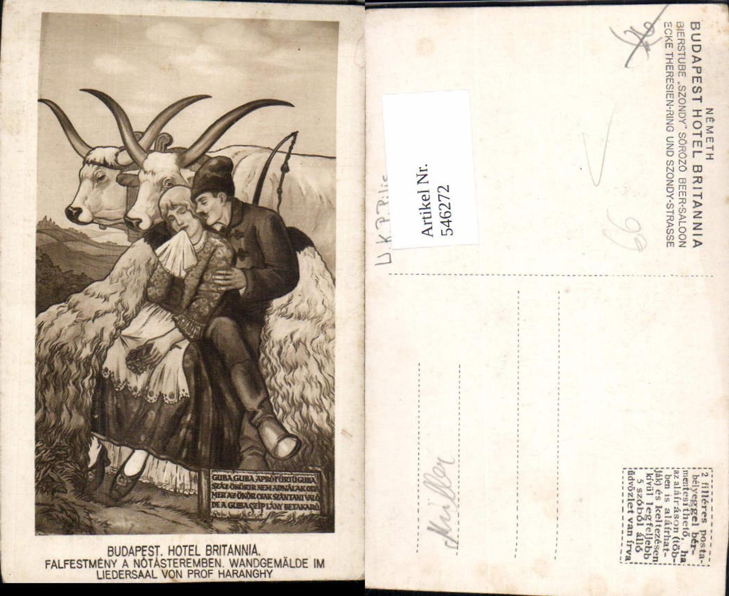 546272,tolle AK Hungary Budapest Hotel Britannia Bauern Liedersaal Gemälde v. Haranghy günstig online kaufen