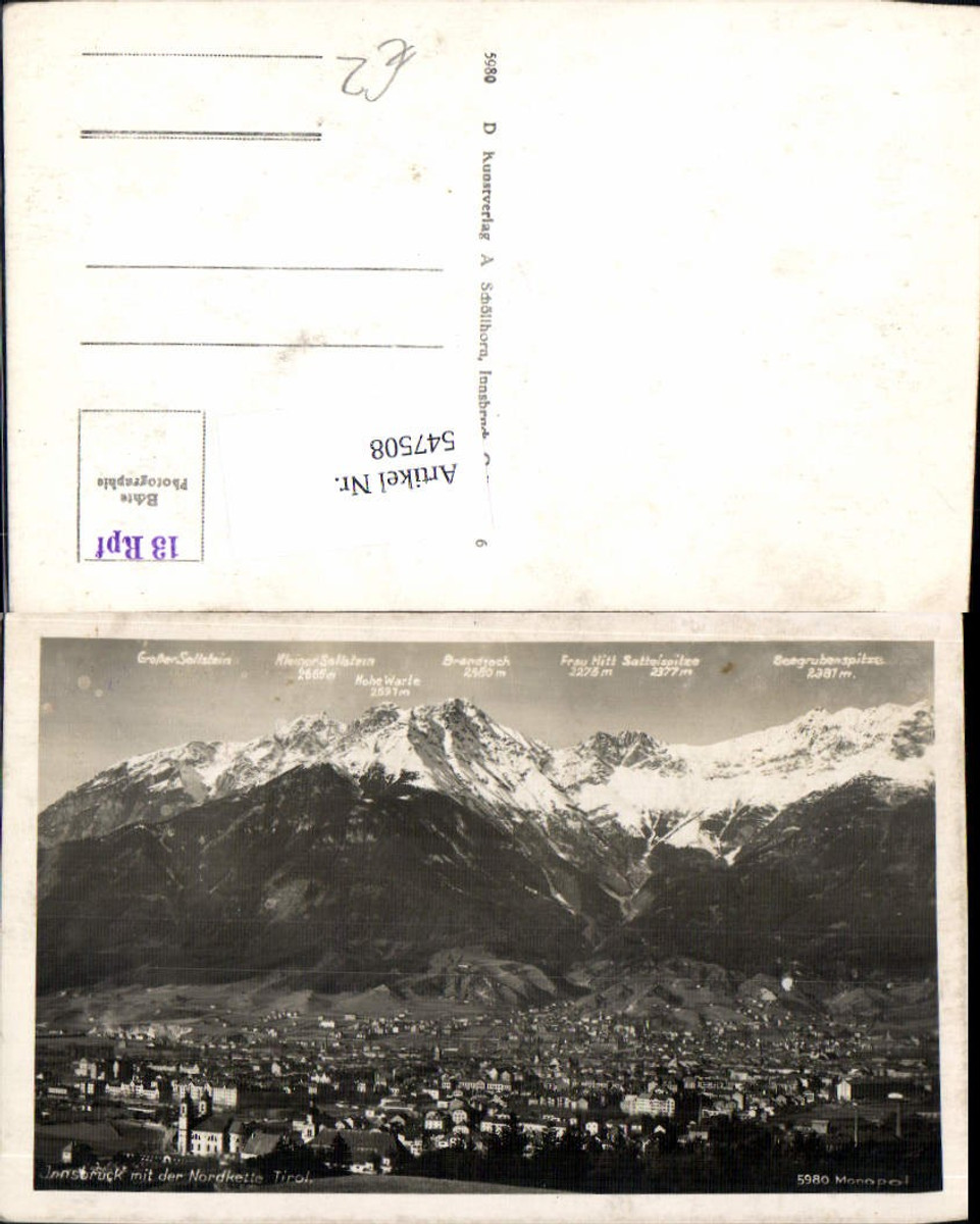 547508,Innsbruck gegen Norden Nordkette  günstig online kaufen
