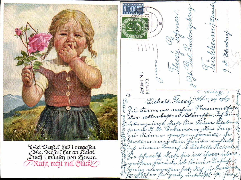 547773,Künstler AK C. H. Roth Mädchen Kind Rose weinen weint günstig online kaufen