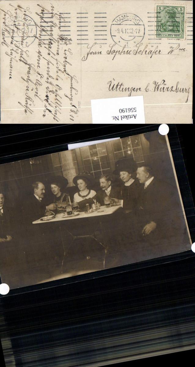 556190,tolle Foto-AK Hamburg Nachtcafe Fraue Bier Hut Hutmode Fr. Lühmann, Hr. Karl, Frau Halt günstig online kaufen