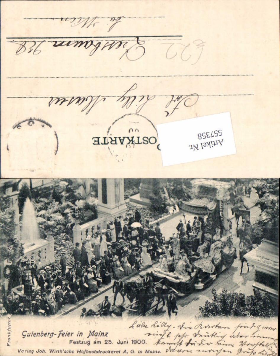 557358,Gutenberg Feier in Mainz 1900 Festzug  günstig online kaufen