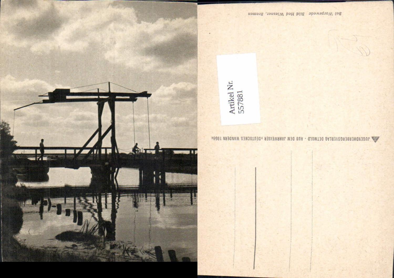 557881,Worpswede Brücke Drehbrücke Radfahrer Schiff günstig online kaufen