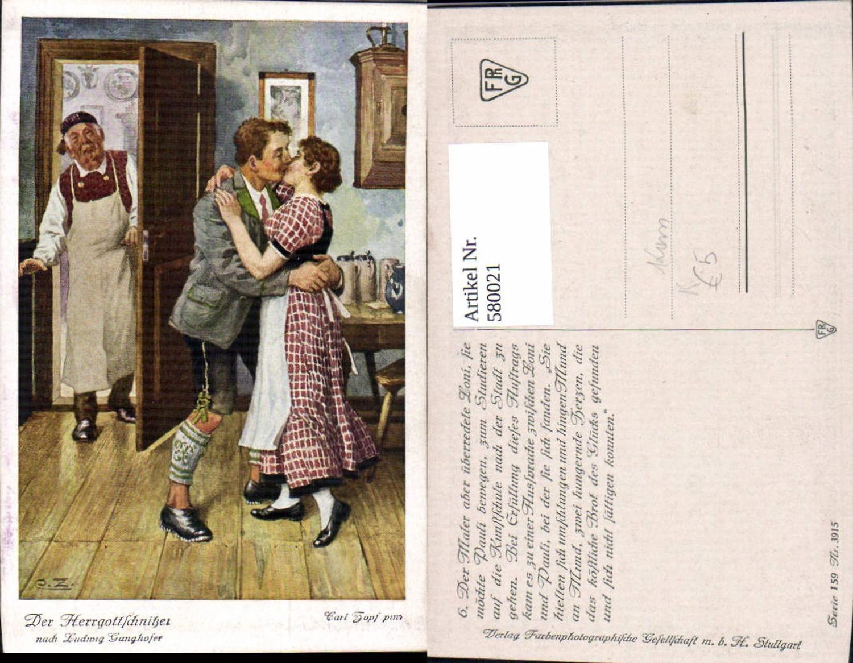 580021,Künstler Ak Cark Zopf Der Herrgottschnitzer v. Ludwig Ganghofer Kuss Theaterszene Theater günstig online kaufen