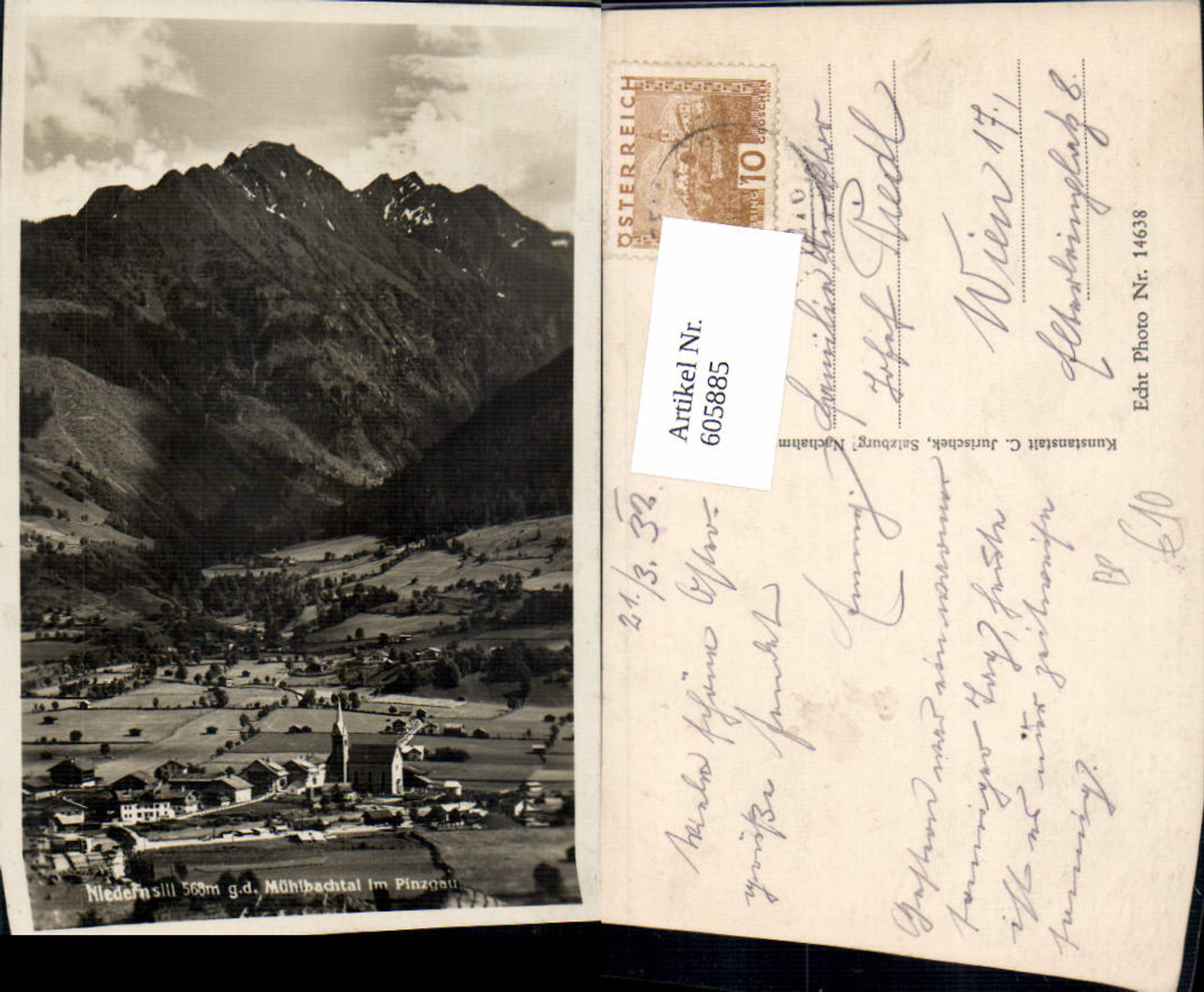 605885,Foto Ak Niedernsill g. d. Mühlbachtal i. Pinzgau Bahnpost 276 Krimml Zell a. See günstig online kaufen