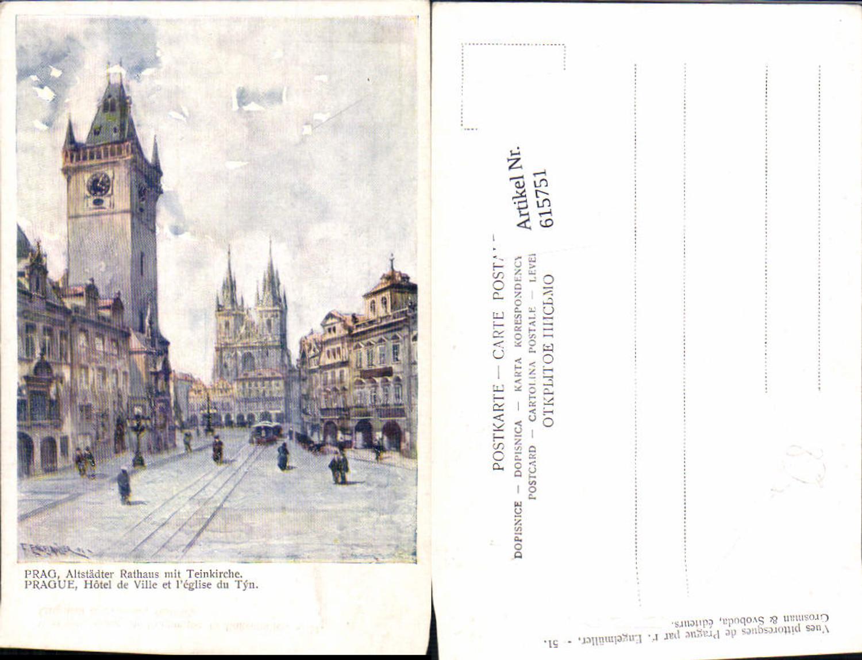 615751,Künstler AK F. Engelmüller Prag Praha Altstädter Rathaus Teinkirche günstig online kaufen