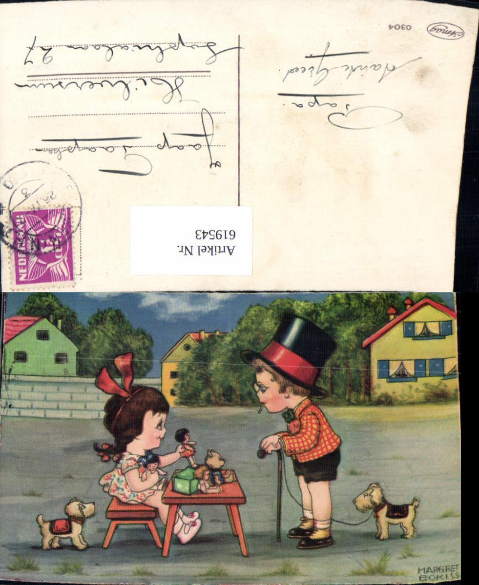 619543,Künstler AK Margret Boriss Puppe Teddy Hund Teddybär Zigarette Kinder  günstig online kaufen