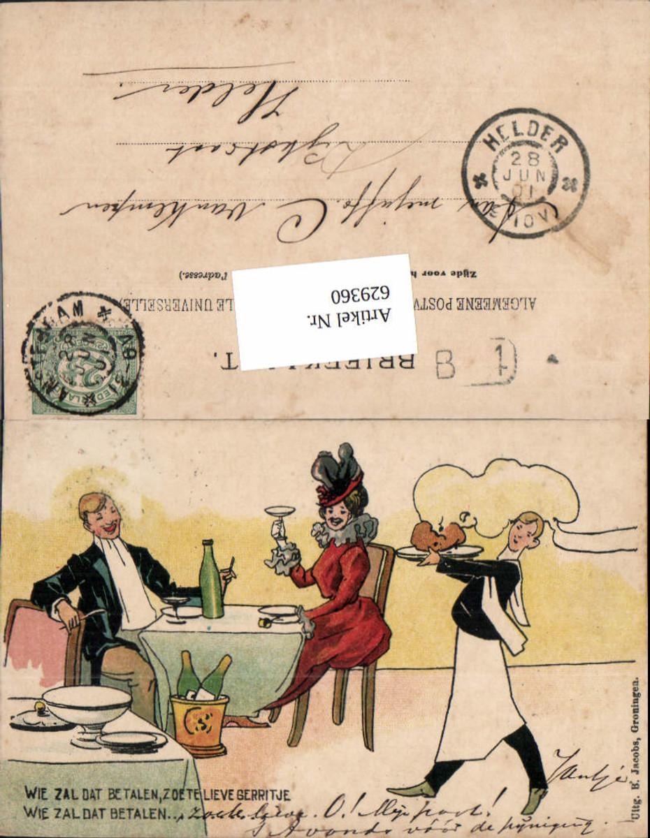 629360,Künstler AK Sekt Frau Essen Kellner Anzug Alkohol pub Jacobs Groningen günstig online kaufen