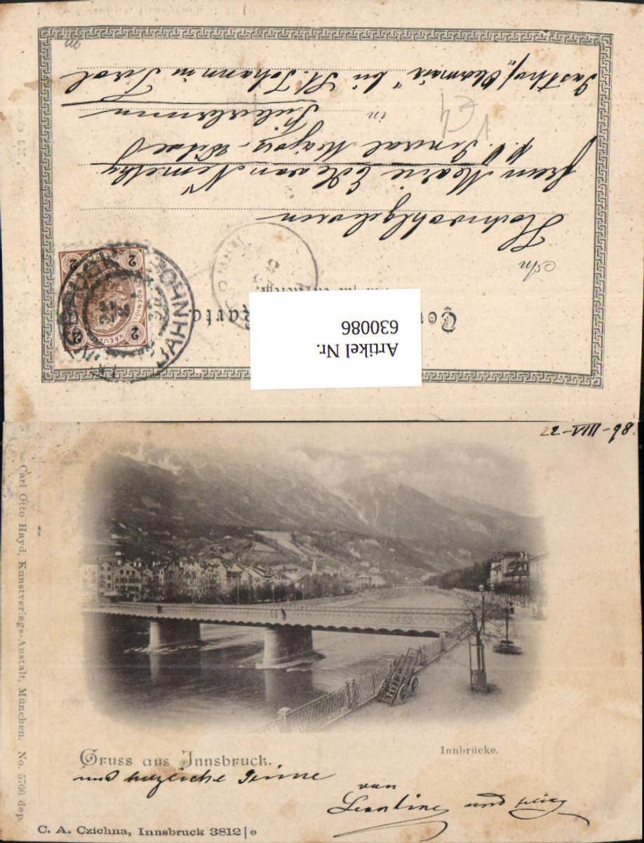 630086,Litho Innsbruck Innbrücke Brücke 1898 pub C. A. Czichna 3812e günstig online kaufen