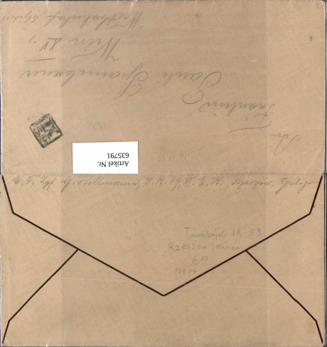 K.K. Feldpost Tarnstempel IX 59 Rzeszow Galizien Inf. Reg. 89 Galizia n. Wien Rudolfsheim günstig online kaufen