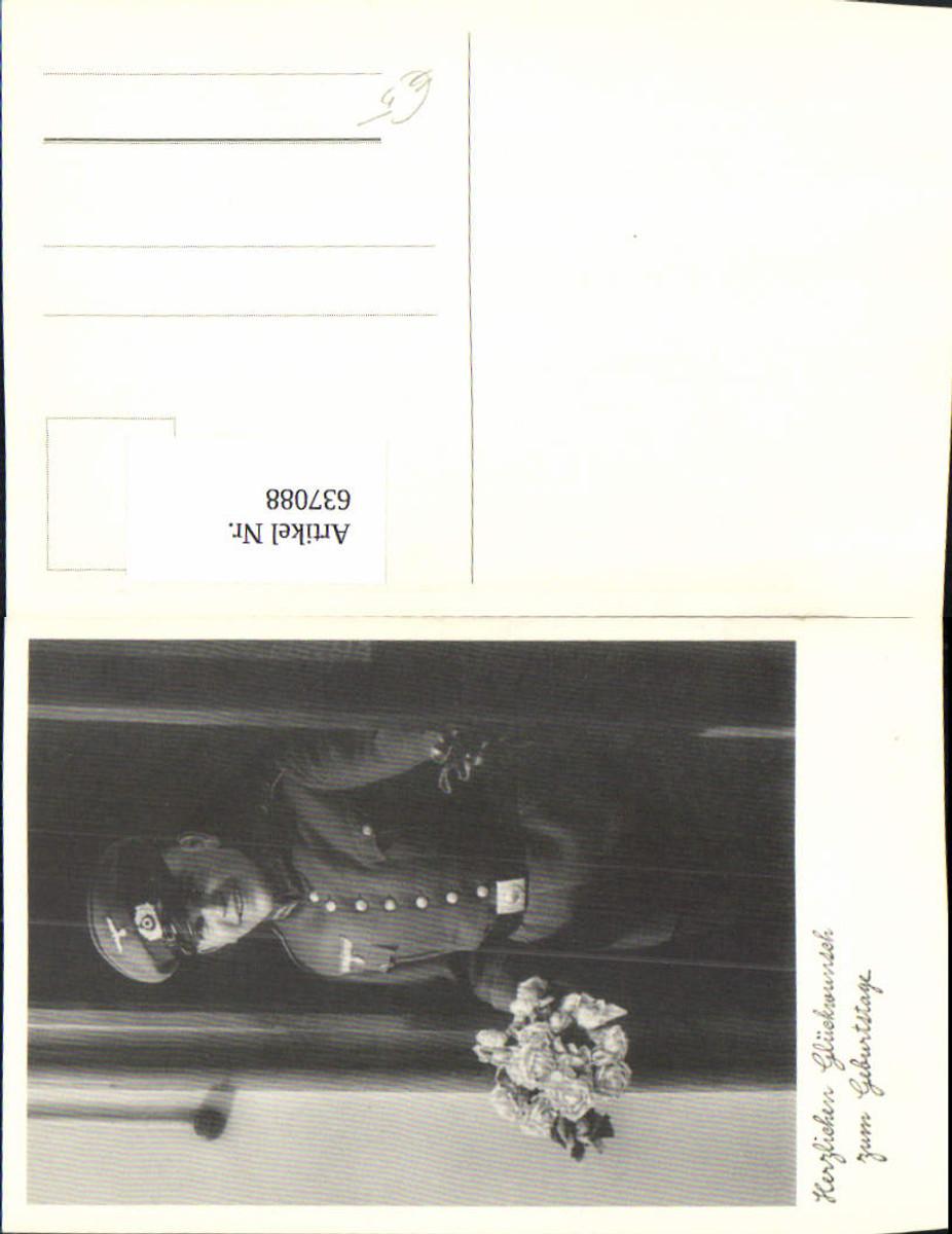637088,WK 2 Foto-AK Soldat Wehrmacht Uniform Blumen Rosen Gürtel kappe günstig online kaufen