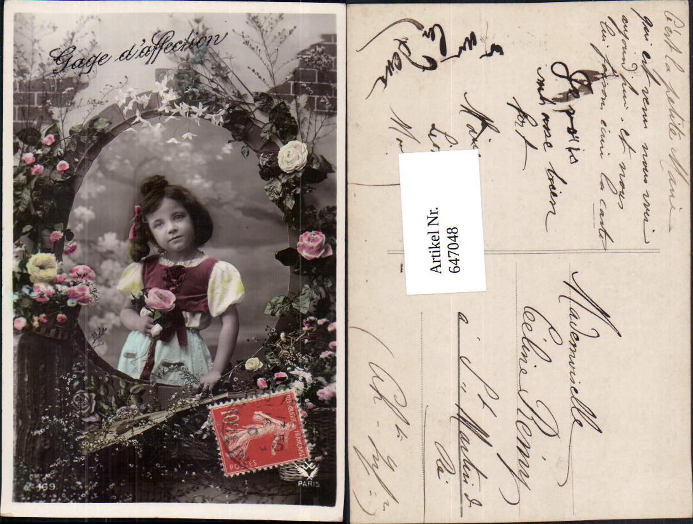 647048,Foto-AK Kind Fotomontage Mädchen Rosen Blumen  günstig online kaufen