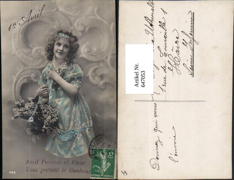 647053,Foto-AK Kind 1. April Mädchen Veilchen Blumen  günstig online kaufen