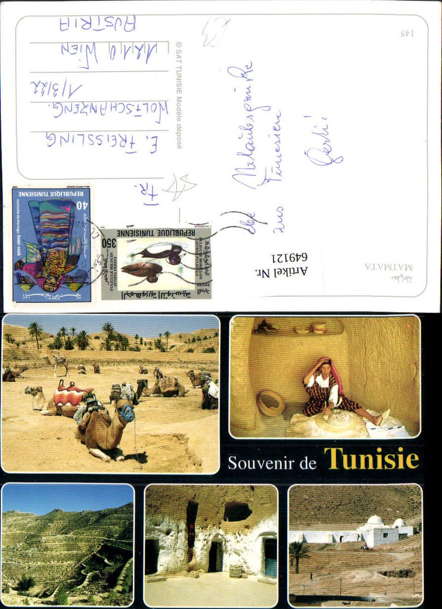 649121,Mehrbild Ak Matmata Souvenir de Tunisie Tunesien Kamel günstig online kaufen