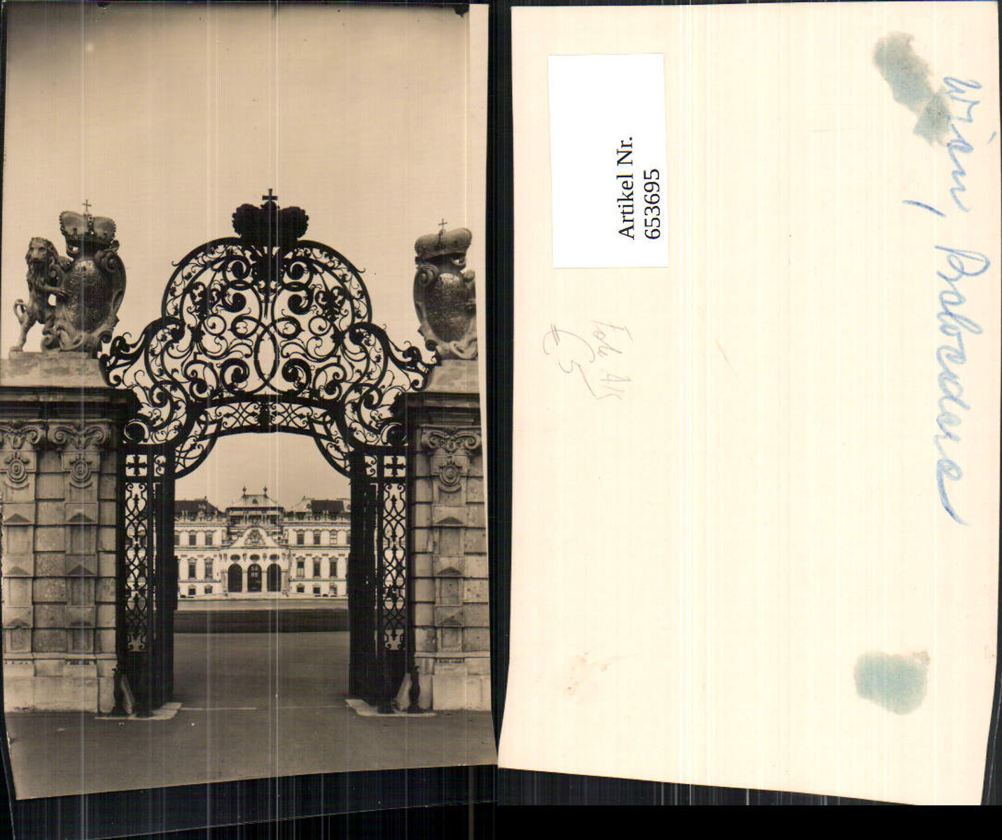 653695,Foto Ak Wien Vienna Landstraße Schloss Belvedere Eisengitter Eingang günstig online kaufen