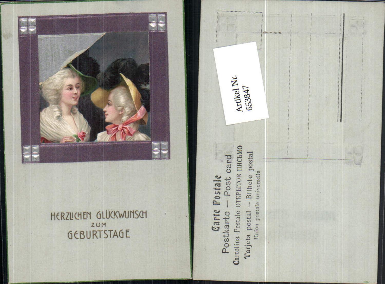 653847,tolle Künstler AK Art Deco Biedermeier Frau Hut Passepartout Präge AK günstig online kaufen
