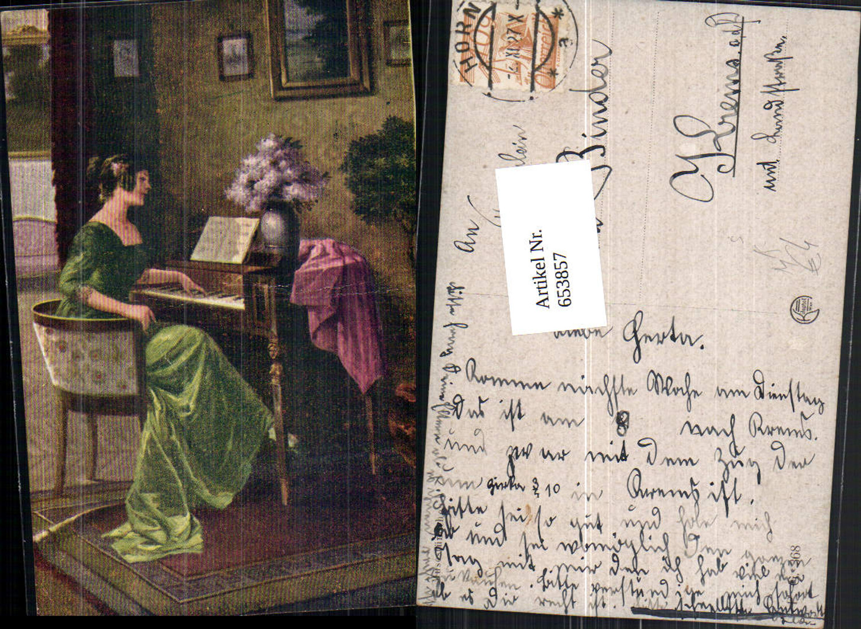 653857,Künstler AK Frau am Klavier Blumen günstig online kaufen
