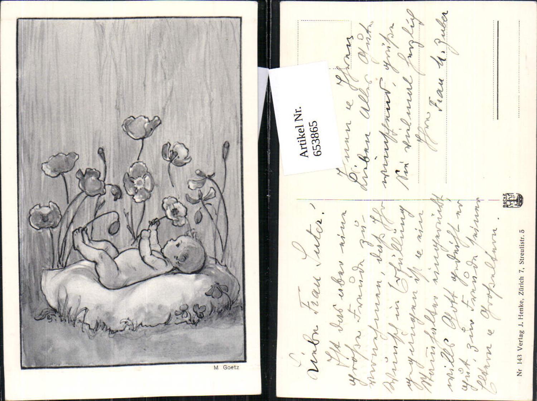 653865,Künstler AK M. Goetz Baby Mohnblumen Mohn Klatschmohn günstig online kaufen