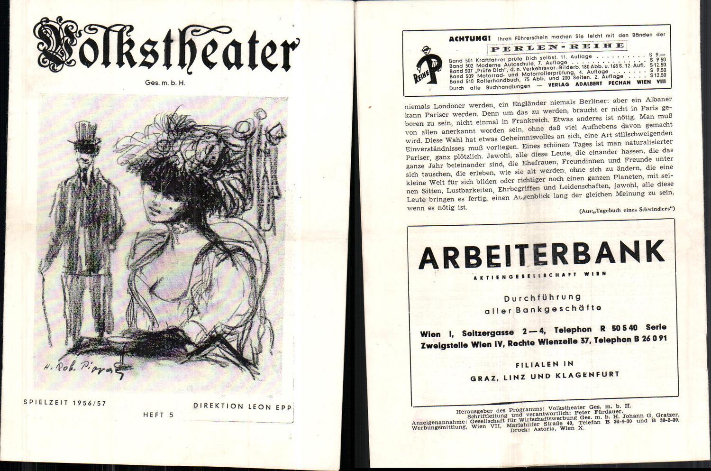 653877,Programmheft Volkstheater Wien 1956/57 Heft 5 Theater günstig online kaufen