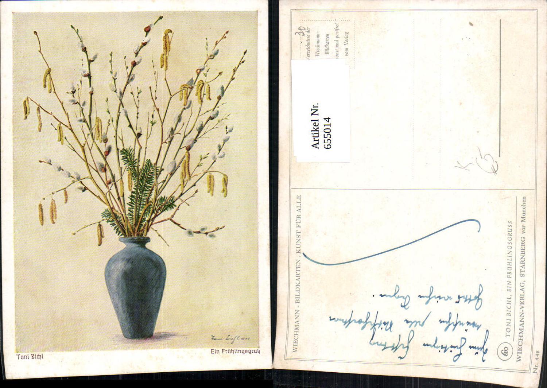 655014,Künstler Ak Toni Bichl Ein Frühlingsgruss Weidenzweige Blumen Vegetation günstig online kaufen