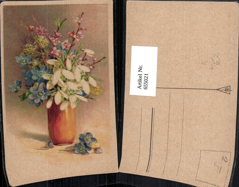 655021,Künstler Ak Vase mit Schneeglöckchen Blütenzweige Blumen Vegetation günstig online kaufen