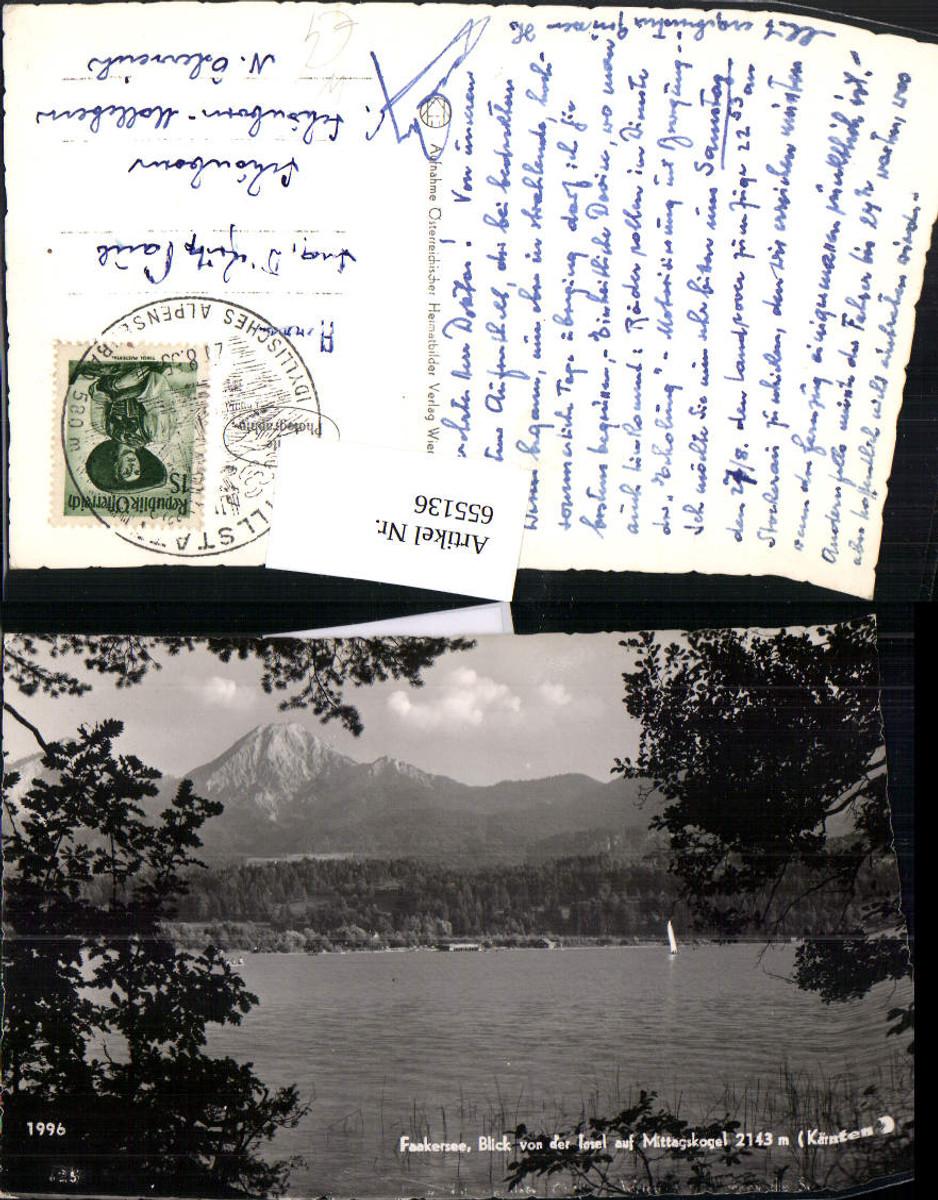 655136,Foto Ak Faakersee Blick v. d. Insel auf Mittagskogel Finkenstein am Faaker See günstig online kaufen
