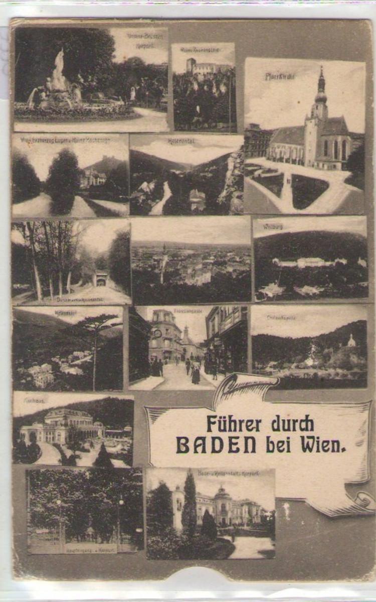160318,klappbare Leporello Führer durch Baden bei Wien 1915 günstig online kaufen