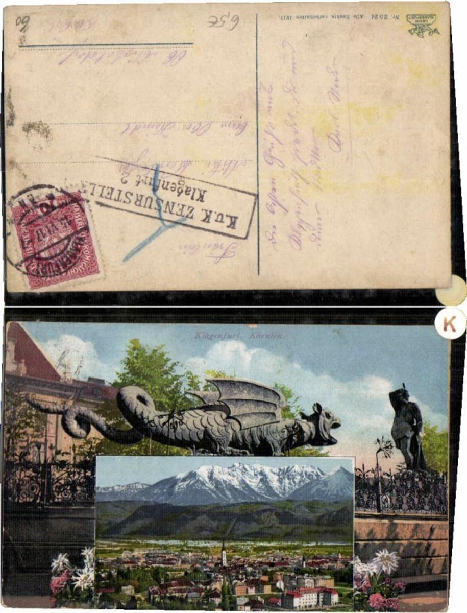60365,Klagenfurt Lindwurmdenkmal 2 Bildkarte pub Leon 2524 günstig online kaufen