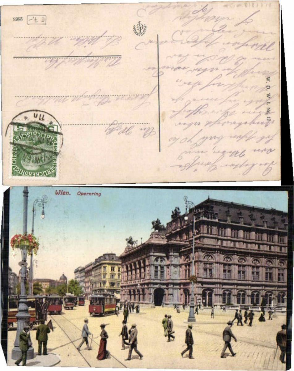 61459,Wien Opernring Strassenbahn Leute Tram 1910 günstig online kaufen