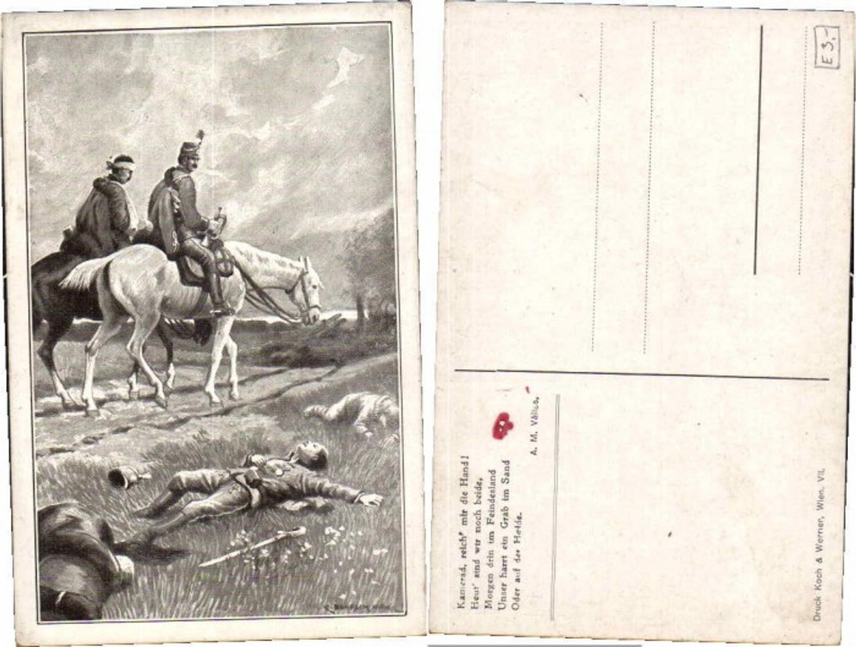 61679,WW1 Patriotik Reiter Tote Soldaten C. Benesch sign.  günstig online kaufen
