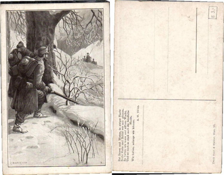 61680,WW1 Patriotik Soldaten im Hinterhalt C. Benesch sign.  günstig online kaufen