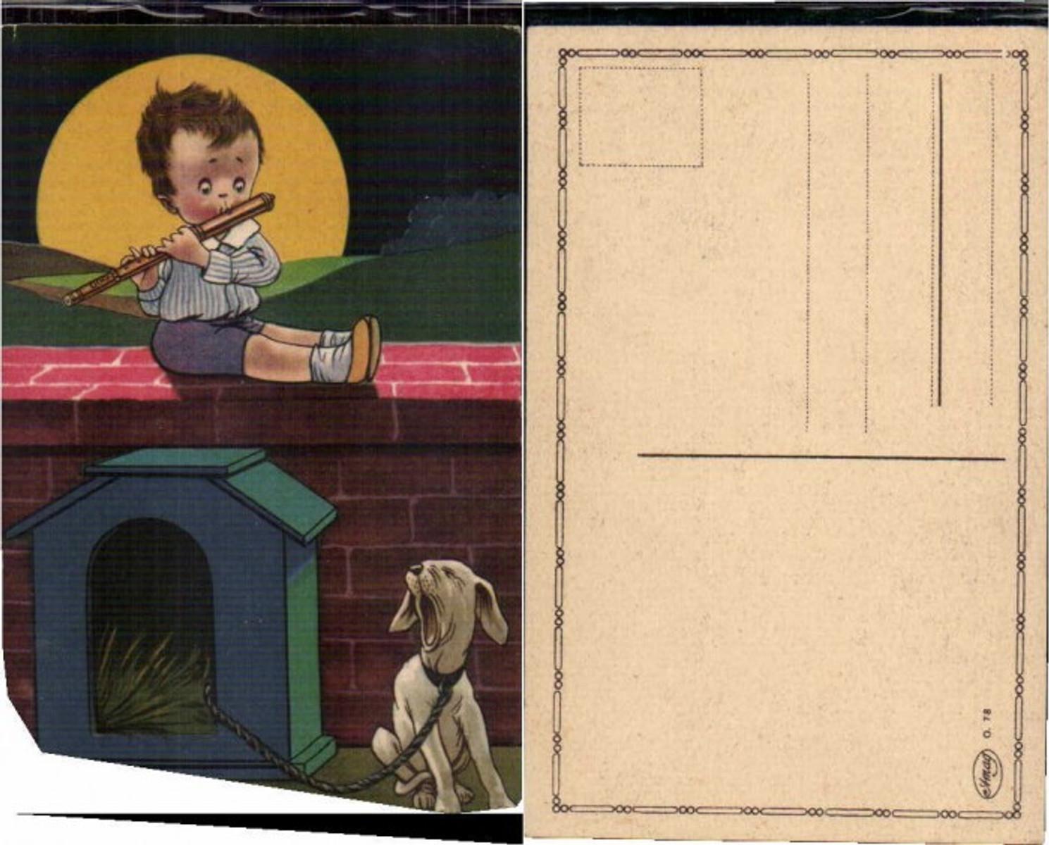 63959,Kind spielt Flöte Hund jault Mond  günstig online kaufen