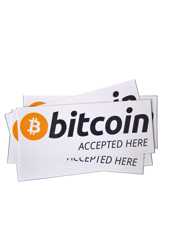 """Aufkleber """"bitcoin accepted here"""" 100x40mm"""