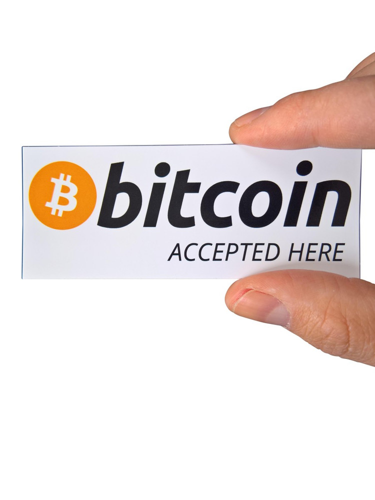 "Aufkleber ""bitcoin accepted here"" 100x40mm"
