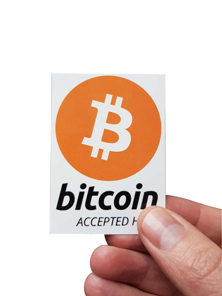 "Aufkleber ""bitcoin accepted here"" 52x74mm DIN A8"