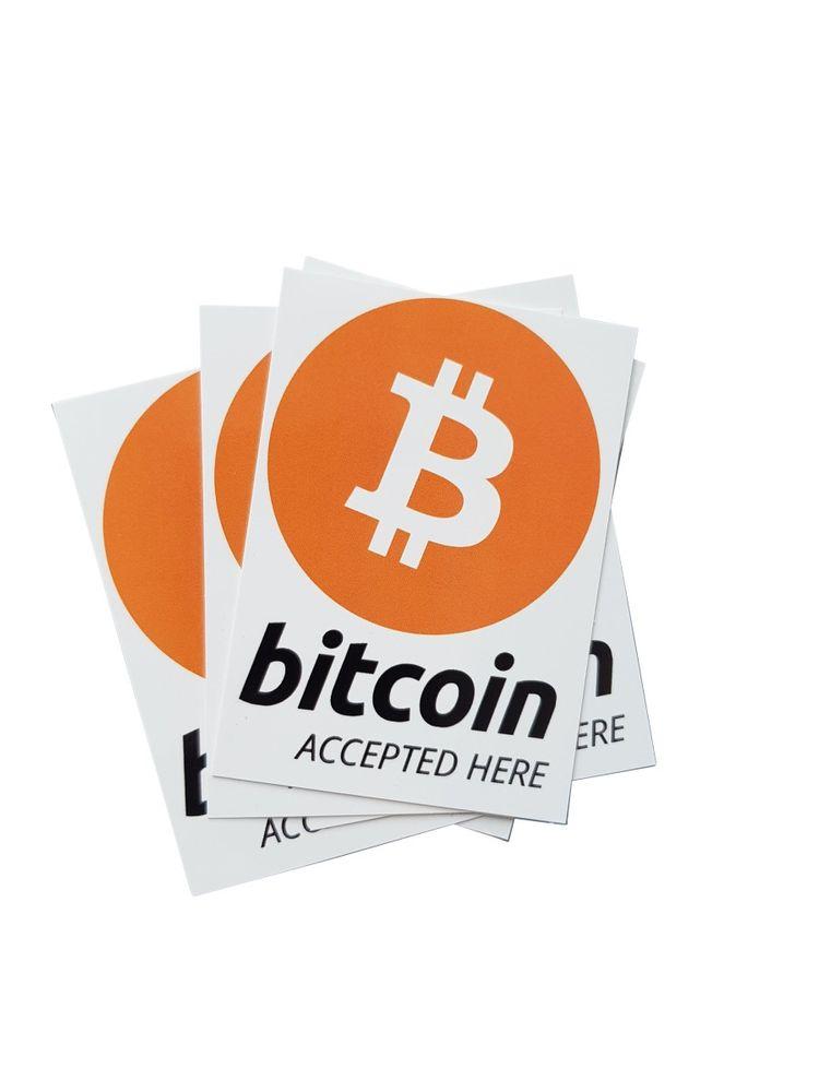 "Aufkleber ""bitcoin accepted here"" 52x74mm DIN A8  – Bild 2"