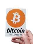 "Aufkleber ""bitcoin accepted here"" 105x148mm DIN A6 001"