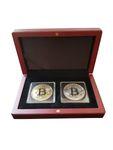 2 Bitcoin Münzen 40mm vergoldet + versilbert mit Münzetui Holz 001
