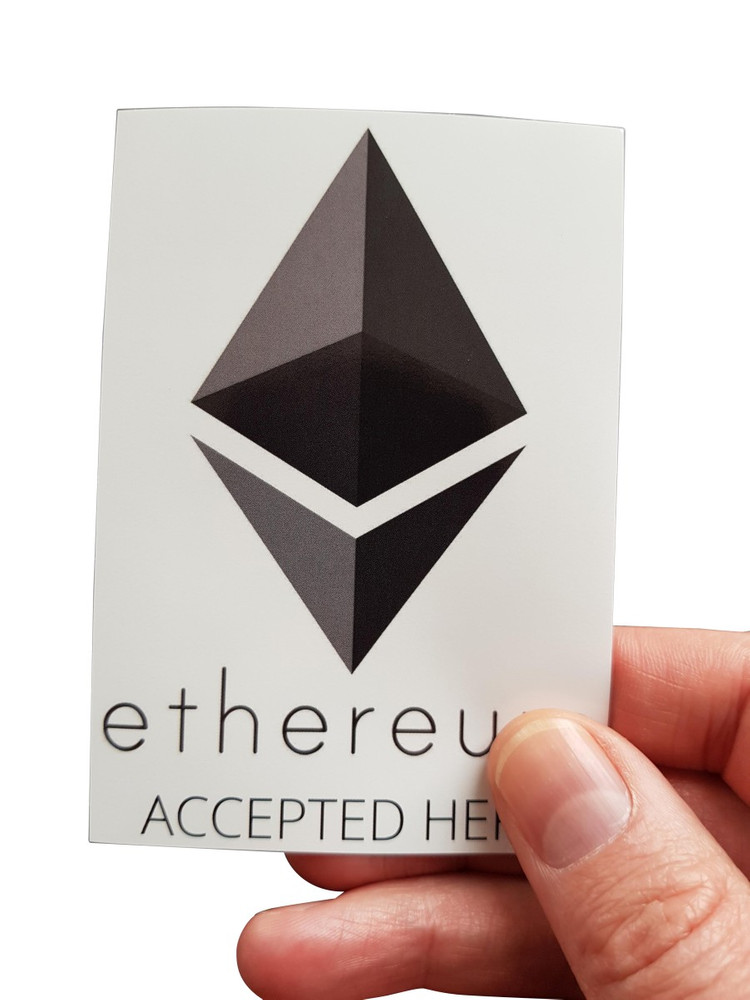 "Aufkleber ""ethereum accepted here"" 74x105mm DIN A7"
