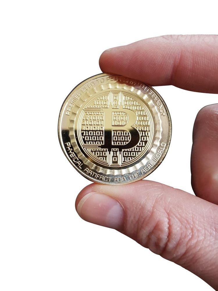 [Paket] Bitcoin Münze Anonymous Kopf V.2 40mm vergoldet mit Münzkapsel