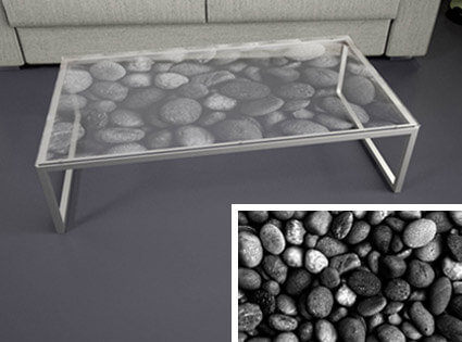 Glastischplatte mit Motiv Stones