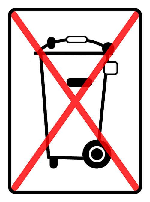 Mülltonne durchgestrichen
